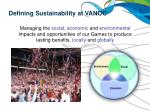 defining sustainability at vanoc