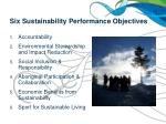 six sustainability performance objectives