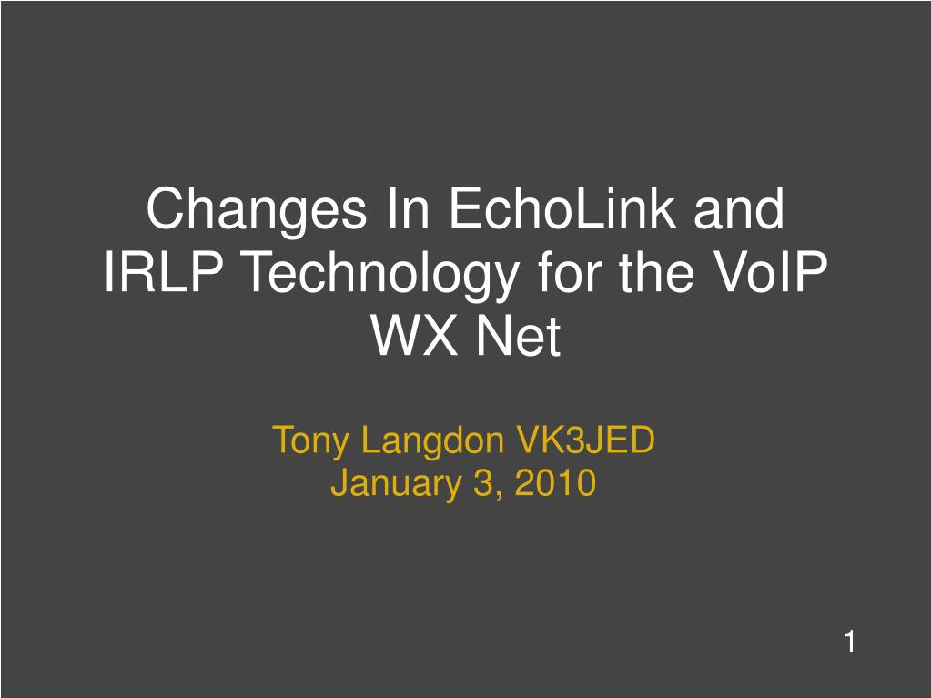 changes in echolink and irlp technology for the voip wx net l.