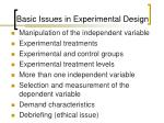 basic issues in experimental design