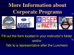 more information about corporate programs