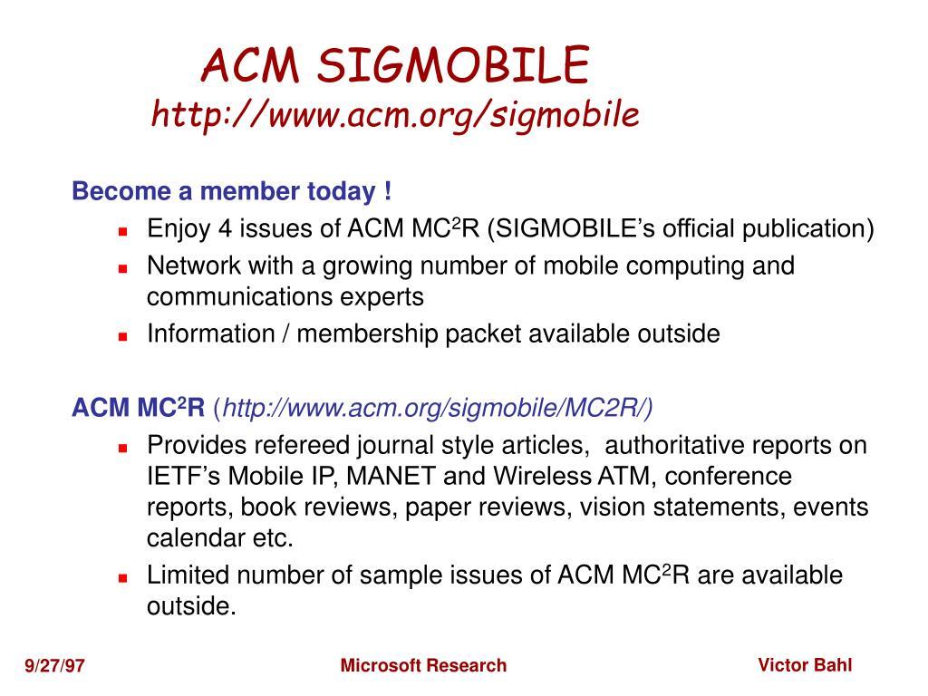 ACM SIGMOBILE