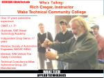 who s talking rich cregar instructor wake technical community college