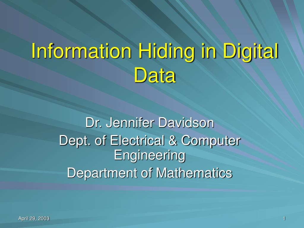 information hiding in digital data l.