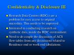 confidentiality disclosure iii