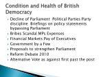 condition and health of british democracy