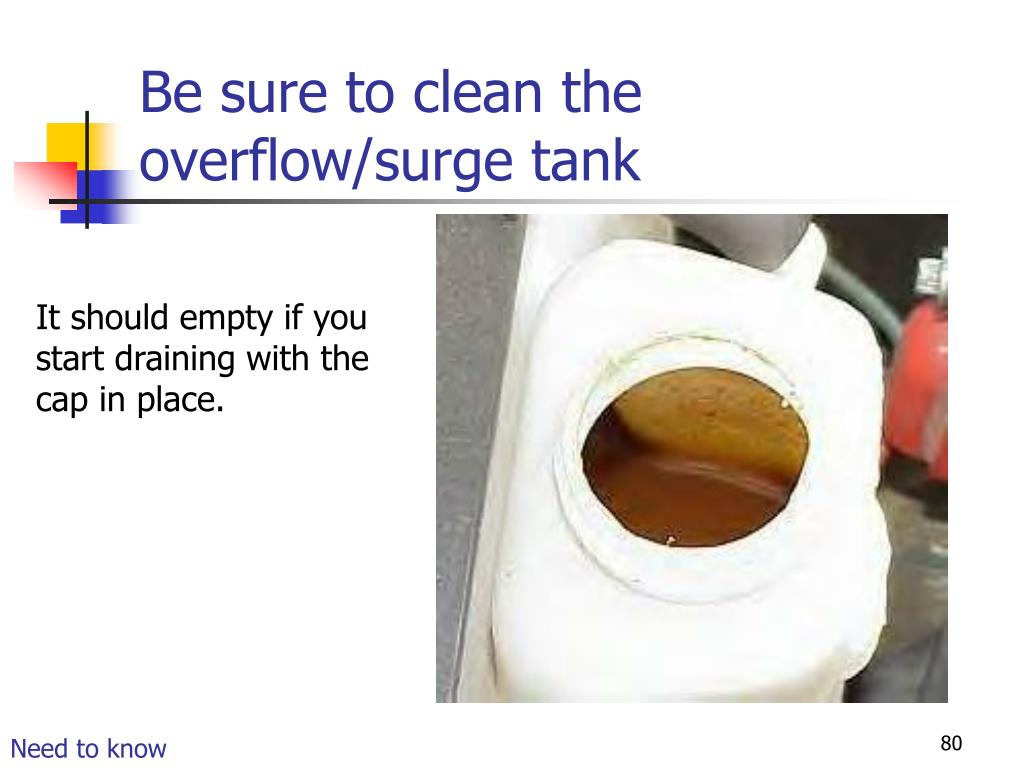 Be sure to clean the overflow/surge tank