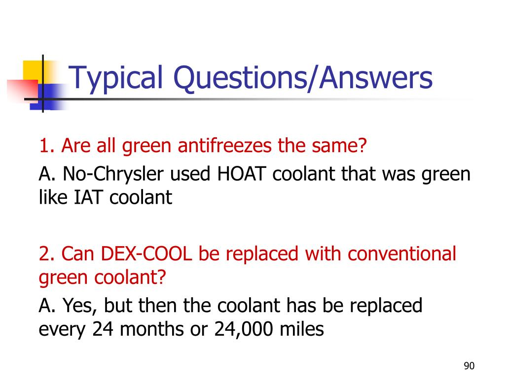 Typical Questions/Answers