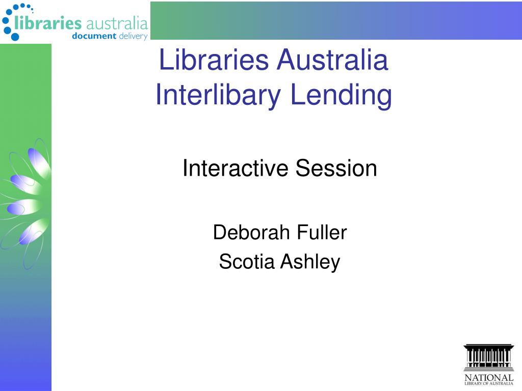 libraries australia interlibary lending l.