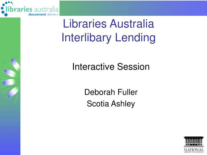libraries australia interlibary lending n.