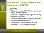 introduction to human resource management hrm