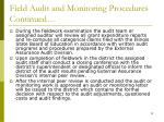 field audit and monitoring procedures continued