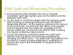 field audit and monitoring procedures