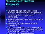 consensus reform proposals