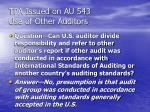 tpa issued on au 543 use of other auditors