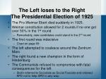 the left loses to the right the presidential election of 1925