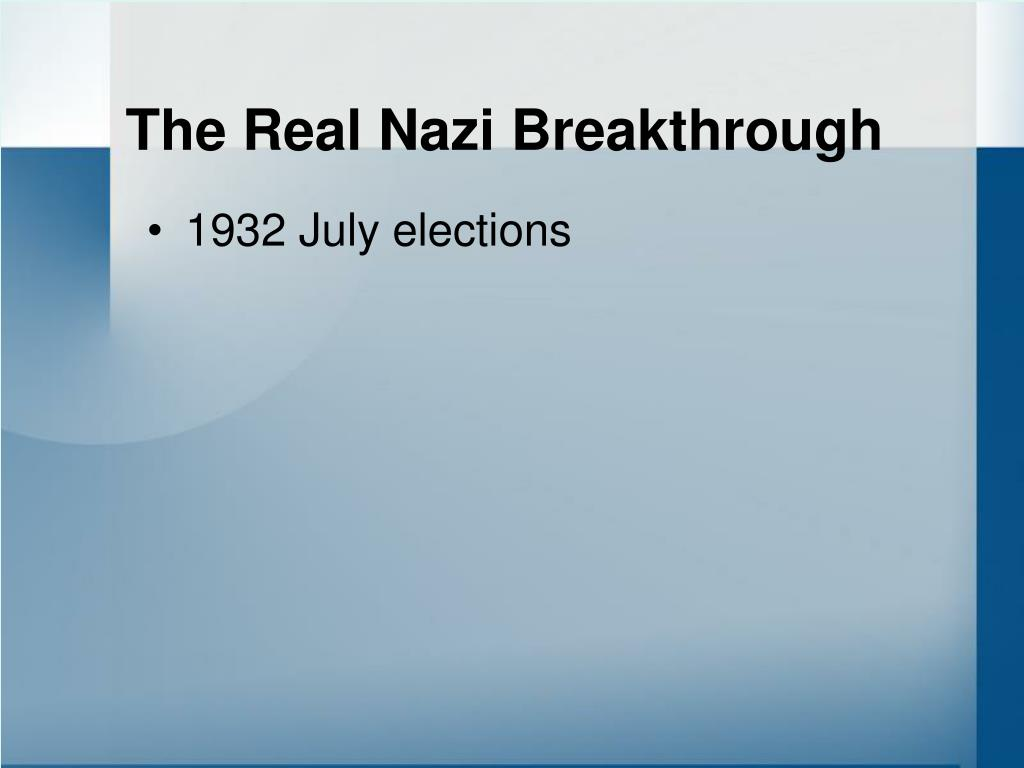 The Real Nazi Breakthrough