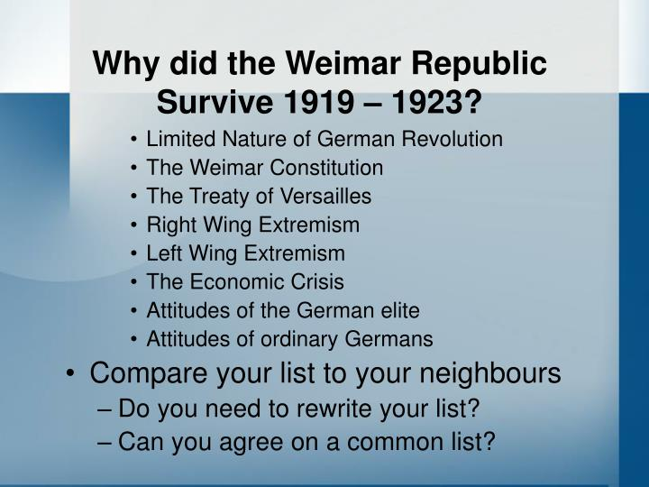 Why did the weimar republic survive 1919 19232