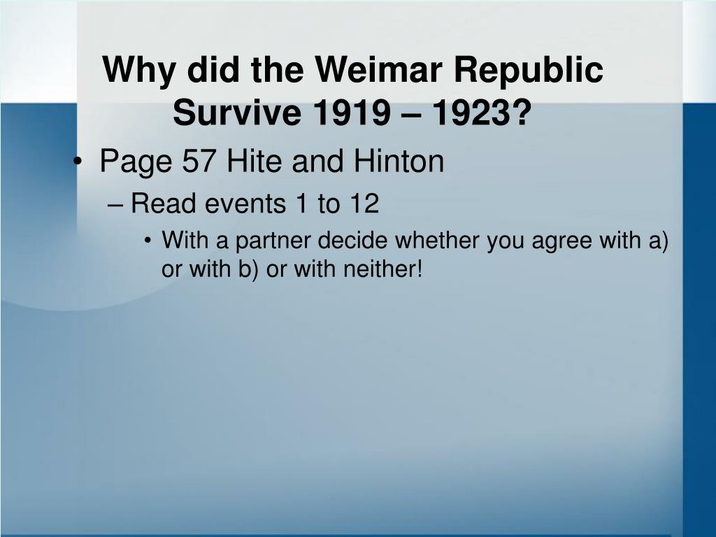 Why did the Weimar Republic Survive 1919 – 1923?