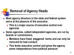 removal of agency heads