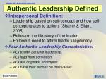 authentic leadership defined