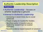authentic leadership description
