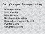 sulzby s stages of emergent writing