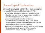 human capital explanations