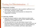 testing for discrimination 1