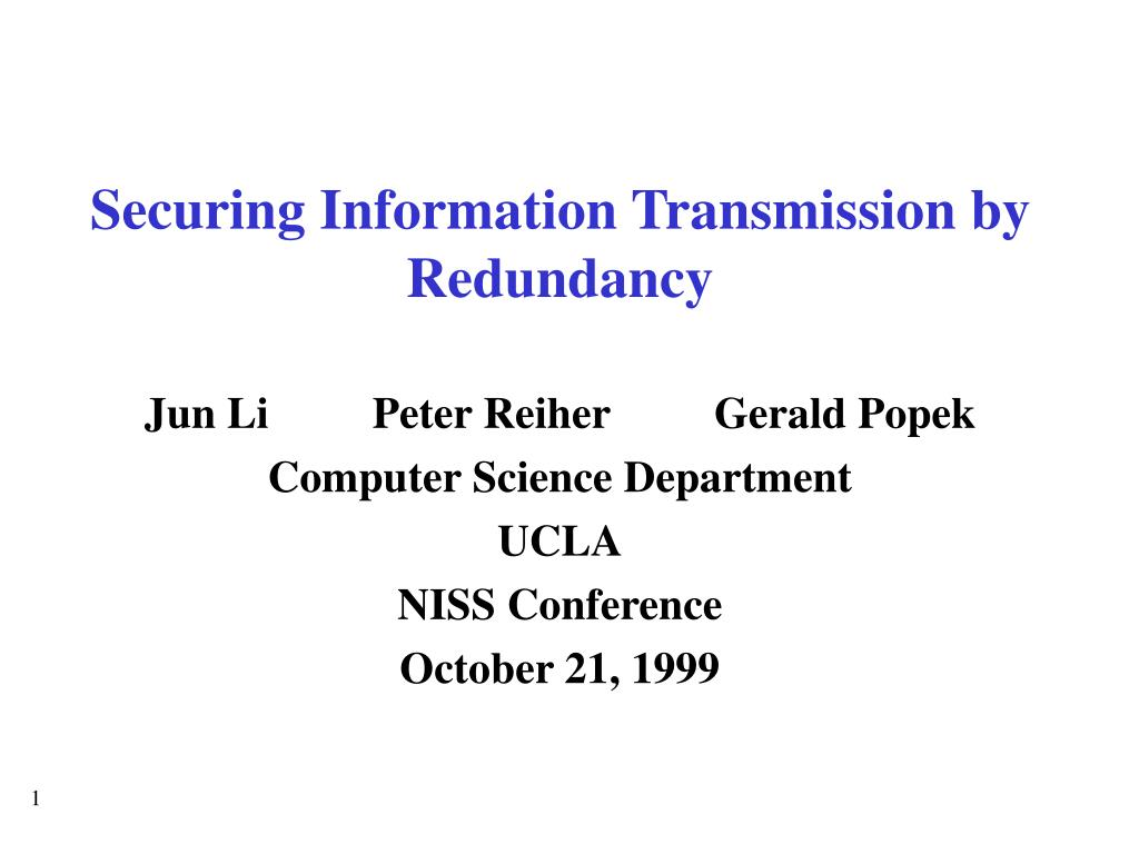 securing information transmission by redundancy l.