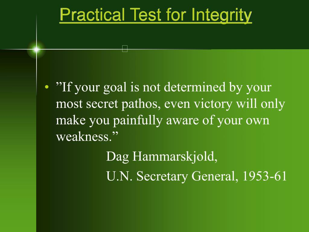 practical test for integrity l.