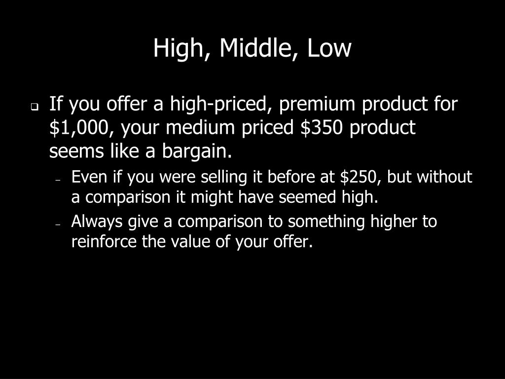 High, Middle, Low