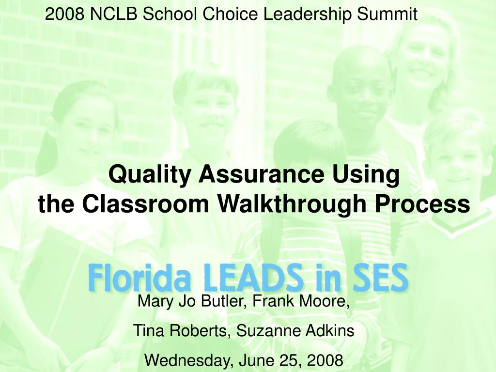 quality assurance using the classroom walkthrough process l.