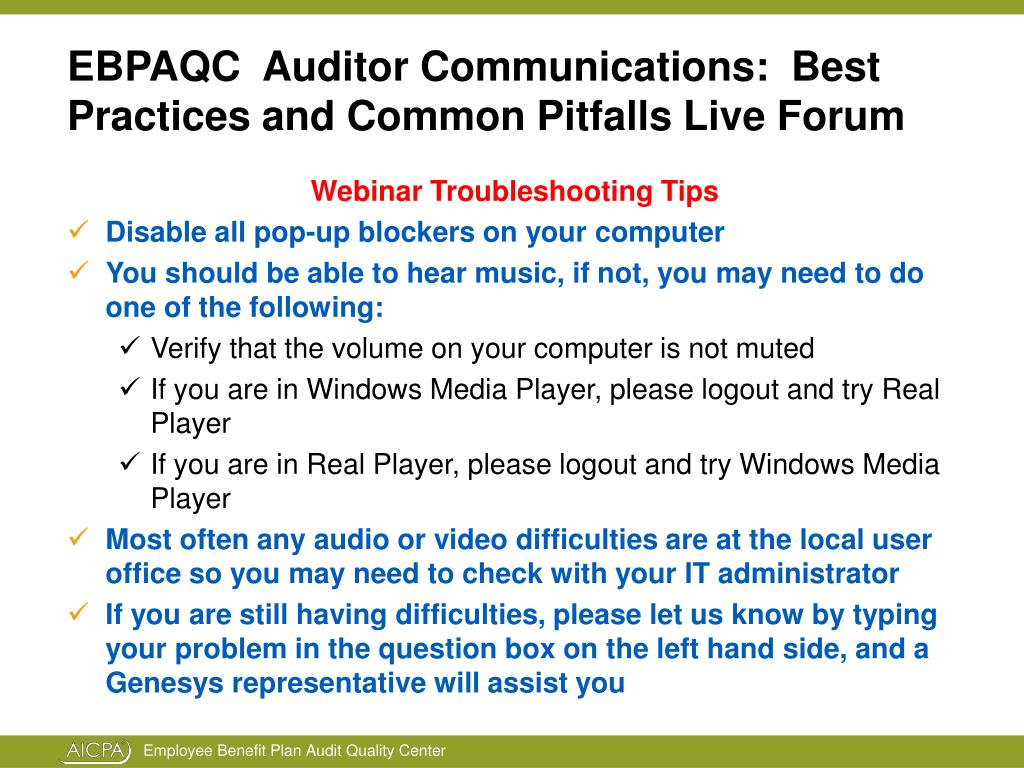 ebpaqc auditor communications best practices and common pitfalls live forum l.