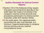 auditor standards for internal control reports