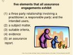 five elements that all assurance engagements exhibit
