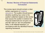 review review of financial statements conclusion