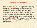 summarized financial statements