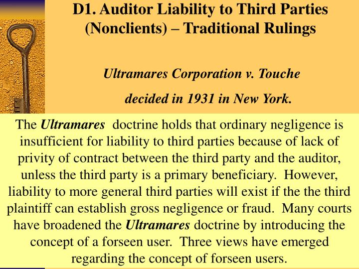 auditors third party liability Conditions, corrupt practices, and product liability  do risk managers and internal auditors consider third-party risk in their risk.
