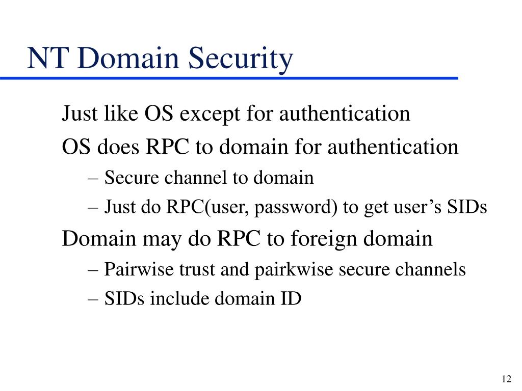 NT Domain Security