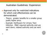 australian guidelines experience