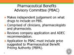 pharmaceutical benefits advisory committee pbac