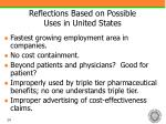 reflections based on possible uses in united states