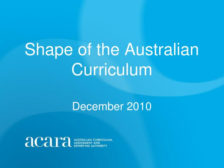 a study of the australian curriculum