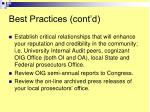 best practices cont d