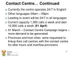 contact centre continued