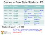 games in free state stadium fs
