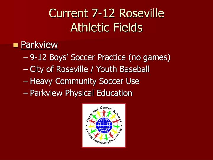 Current 7 12 roseville athletic fields
