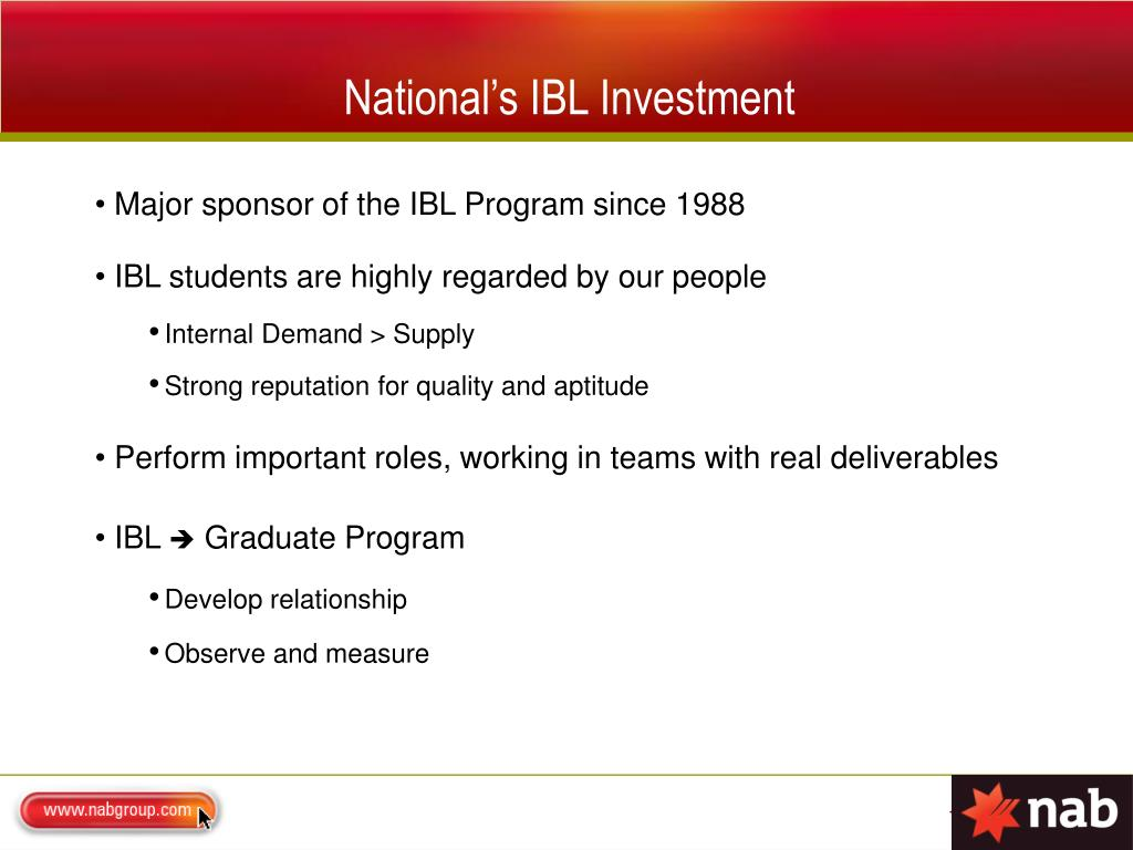 National's IBL Investment