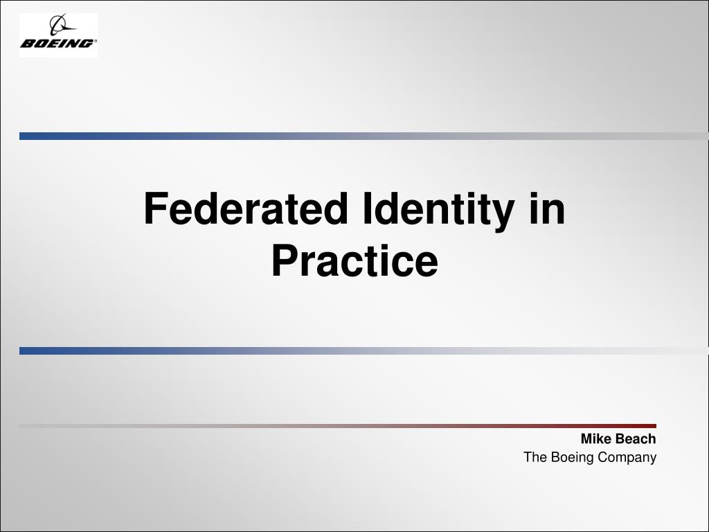 federated identity in practice l.